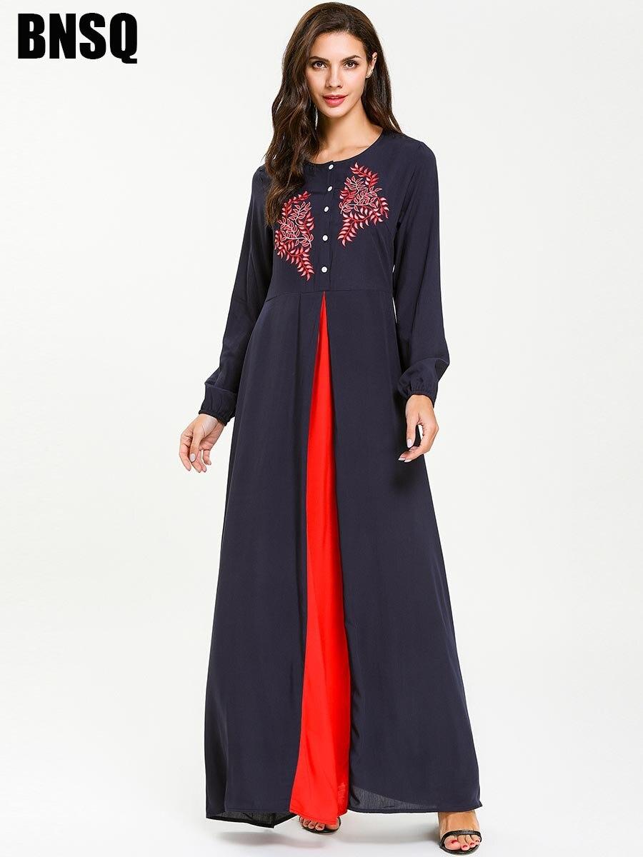 477d1ef1ed7aa Casual Embroidery Maxi Dress Muslim Abaya Kimono Long Robe Gowns Loose  Jubah Ramadan Eid Middle East Islamic Prayer Clothing