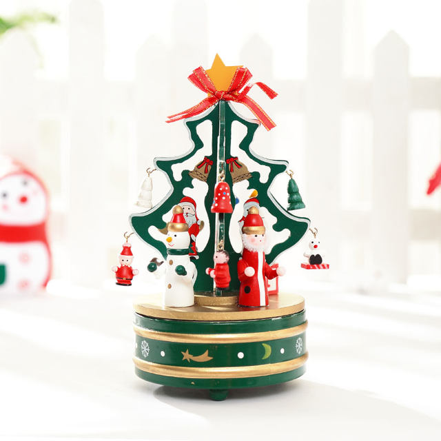 1 piece green or red rotating music christmas tree christmas gift xmas tree music box xmas indoor decoration free shipping