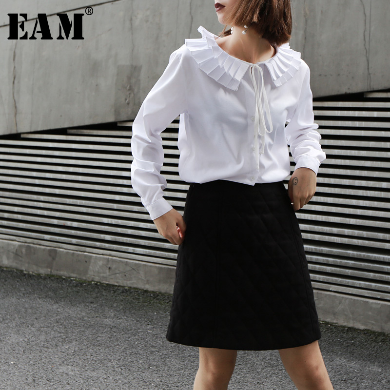 [EAM] 2019 New Spring Summer Lapel Long Sleeve Ruffles Pleated Split Joint Loose White Shirt Women Blouse Fashion Tide JL683