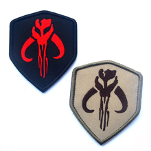 Bounty Hunter Boba Fett Mandalorian Bantha Skull 3D Army USA Military Tactical Morale Badge Embroidered Badges Badges Stickers(China)