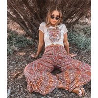 TEELYNN Boho pants 2018 Vintage rayon floral print ankle length summer flare pant Casual trousers Hippie chic long Women pants