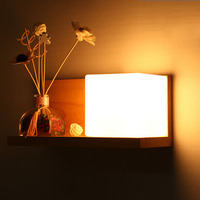 Modern wood Wall Lamp Living Room Bedroom Bedside Hallway Entrance Hallway Lighting Lamp Creative Wooden Glass Shade