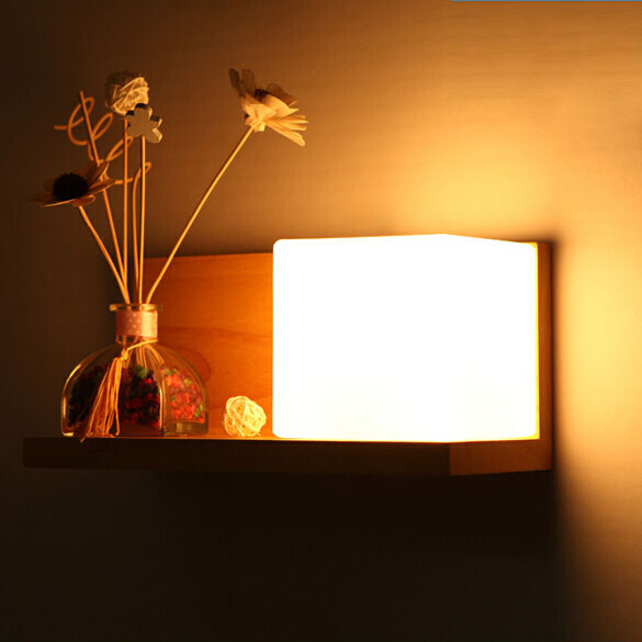 Modern wood Wall Lamp Living Room Bedroom Bedside Hallway Entrance Hallway Lighting Lamp Creative Wooden Glass Shade modern wooden led wall lamp bed room bedside natural solid wood white glass bedroom bedside aisle corridor entrance wall sconce