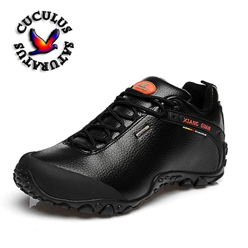 XIANG GUAN Outdoor Waterproof Hiking Shoes Men Women Genuine Leather Climbing Shoes Men Walking Shoes trekking boots 81996 цена