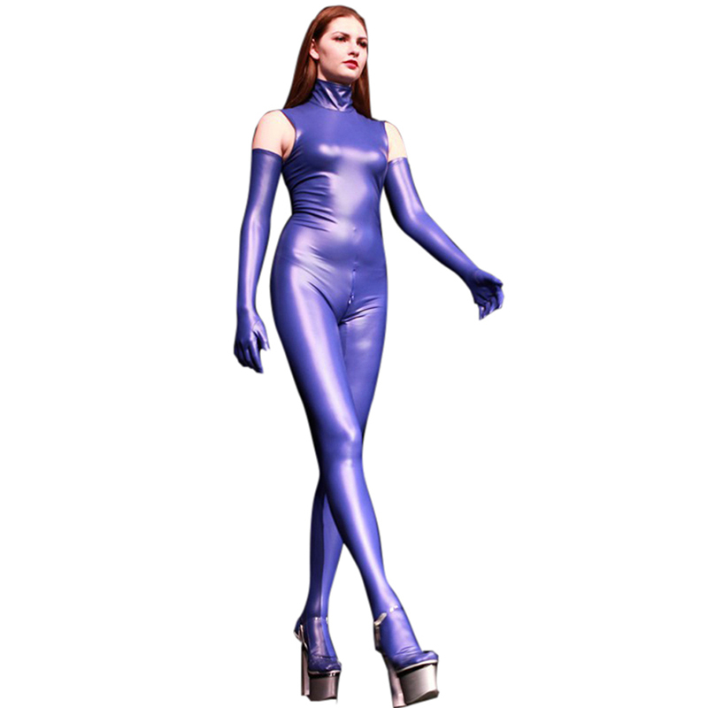 LinvMe Women Synthetic Latex Sleeveless High Neck Zentai Cosplay Catsuit Rubber Bodysuit Jumpsuit Clubwear Body Suits