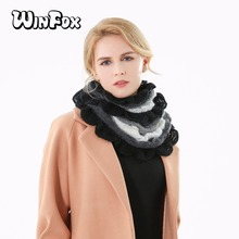 Winfox 2018 New Ladies Fashion Winter Black White Grey Multicolor Color Patchwork Infinity Scarf Womens