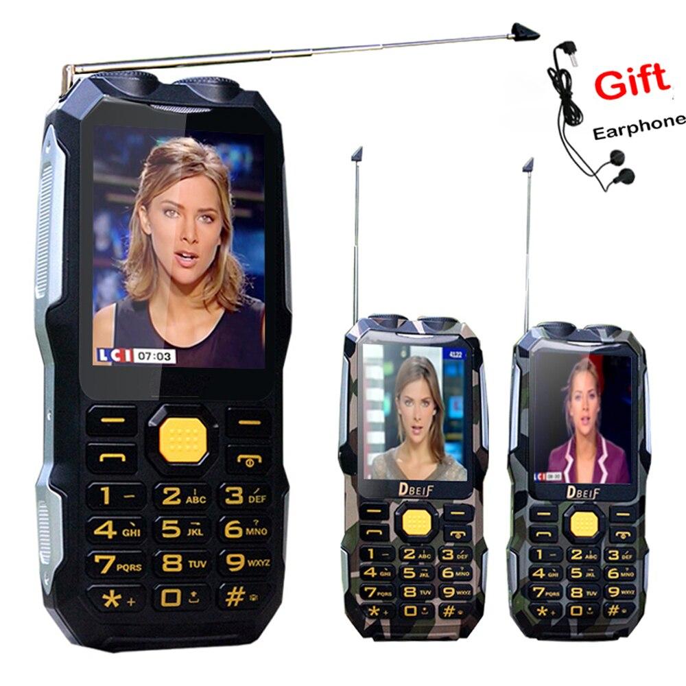 DBEIF D2016 voz mágica Dual Antenn FM lanterna 13800 mAh banco de potência mp3 mp4 telefone celular TV Analógica móvel Robusto P242