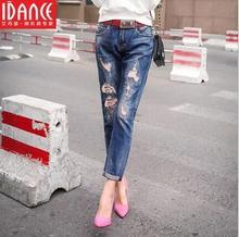 Лето светлый цвет развивать нравственность ковбойские штаны ковбой карандаш брюки отверстие нищий женщина малоэтажных джинсы