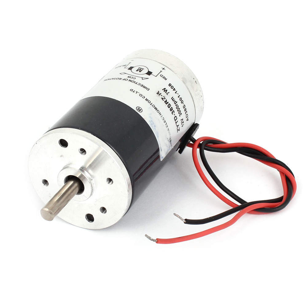 Uxcell Newest DC 12V 7W <font><b>3000RPM</b></font> Brushed <font><b>Motor</b></font> 5mm Shaft 38 x 65mm DC Brush <font><b>Motor</b></font> Replacement ZYTD-38SRZ-R image