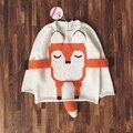 Suéter de punto de primavera otoño invierno muchachos de los niños de la historieta del zorro moda jerseys kids punto lindo suéter de algodón 100%
