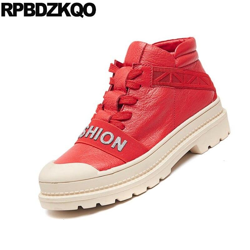 Otoño Negro Negro Corto Flatform El Ascensor Mujer Informal Planos Señoras Zapatos Mollete Zapatillas Nuevo Botas Encaje Rojo Tobillo Femenino De Plataforma Casual rojo Chino Moda Harajuku Hasta 4qP68qd7