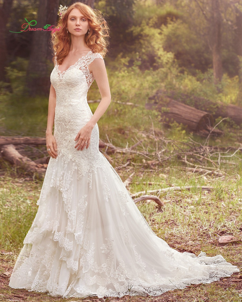 Dream angel sexy v neck lace mermaid wedding dress 2017 for Plus size beaded wedding dresses