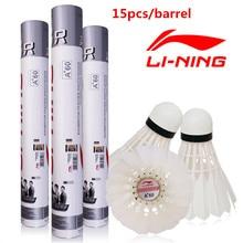 15 unids/barril 5 Barriles Forro de Pluma de Ganso Badminton Shuttlecock A + 60 extra Estabilidad Volar Birdies Durable Li Li-ning Raqueta