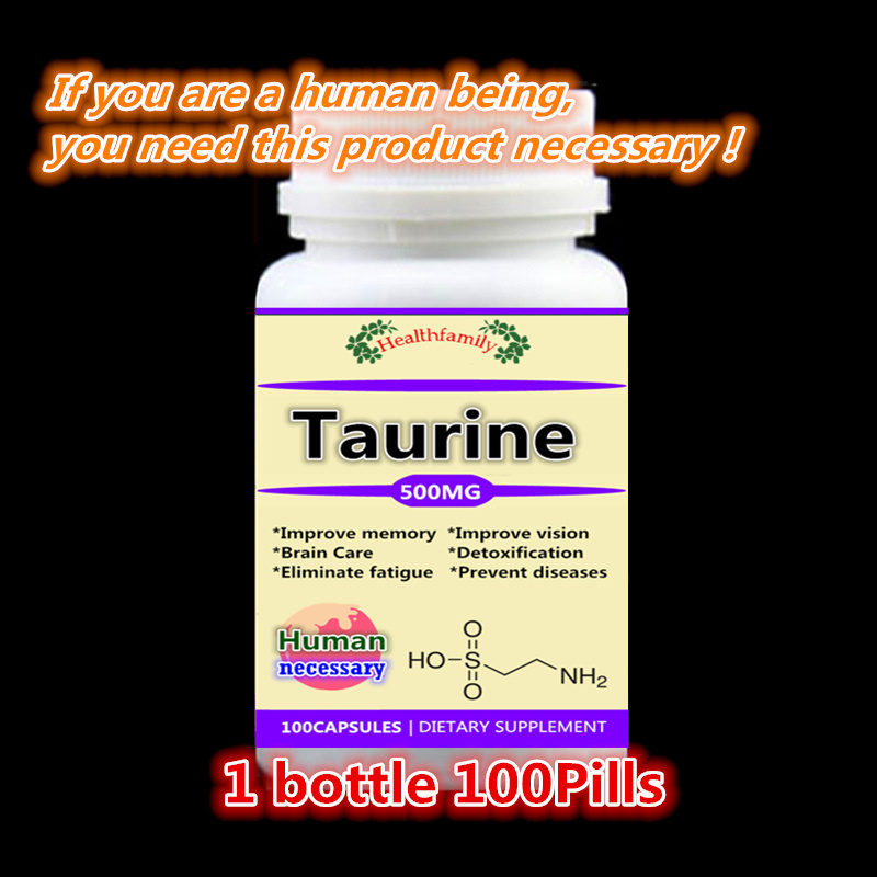 Pure Taurine For improve memory improve vision brain Care detoxification eliminate fatigue prevent diseases,100pcs/bottle