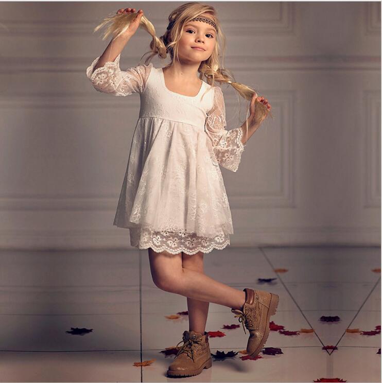 子供のウェディングドレスレース夏ボイル flare スリーブ妖精プリンセスドレス歳の女の子インファッション vestido パーティー  グループ上の ママ & キッズ からの ドレス の中 1