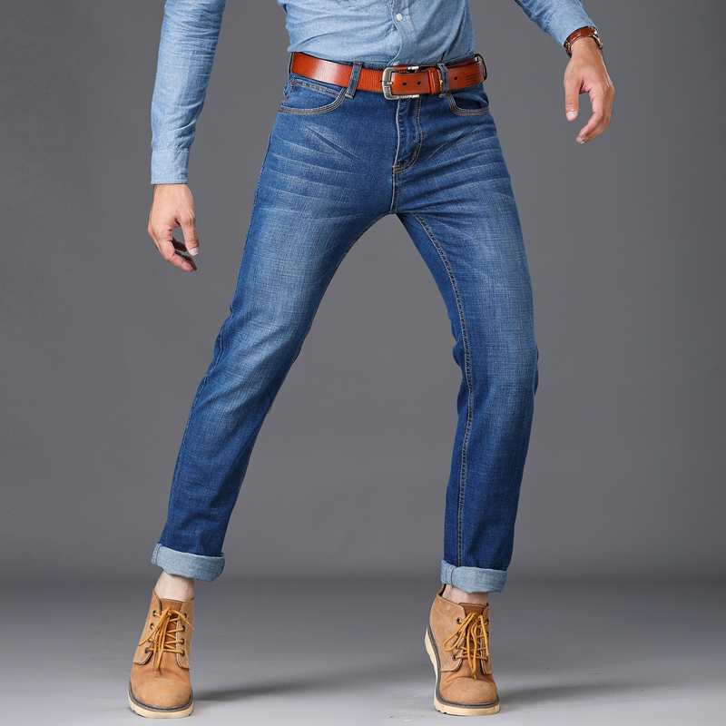 2018 New Men Skinny Jeans Stretch Fashion Classic Blue Leisure Male Feet Pants Cowboy Trousers Cultivate Morality