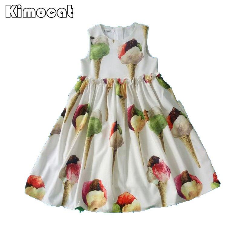Kimocat Brand Girls Dress Summer Vestido Menina Infantil Princess Dress Costume for Kids Clothes Children Ice Cream Dresses