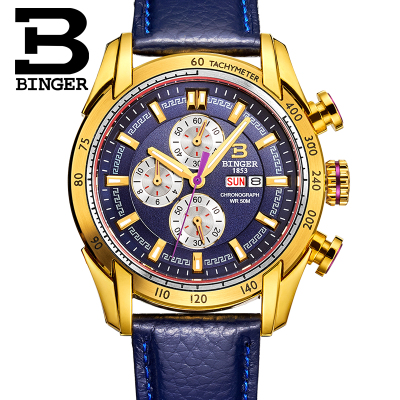 Binger Gold Watches Top Brand Luxury Fashion Business Sports Military Wristwatches Quartz Watch Men Relogio Masculino waterproof 2016 biden brand watches men quartz business fashion casual watch full steel date 30m waterproof wristwatches sports military wa