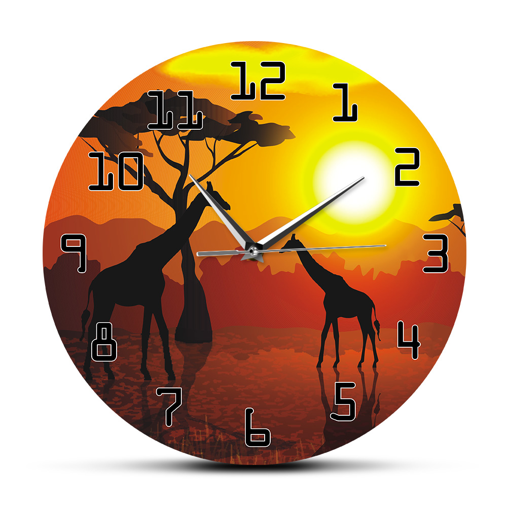 Wildlife Giraffe Wall Art Decorative Wall Clock Serengeti African Sunset Savannah Safari Wall Decor Hanging Timepiece Wall Watch