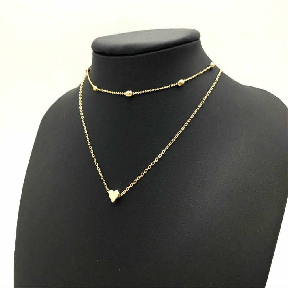חדש צבע זהב כסף אהבת לב שרשראות & תליוני תכשיטי Bijoux תכשיטי הצהרת נשים צווארון זוגי קולר שרשרת