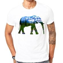 Elefante Montanha t-shirt Dos Homens 2017 Homens Da Moda Roupas de Verão Impresso T-Shirt Dos Homens de Manga Curta O-Neck Camisetas projeto Fresco