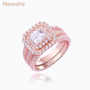 Image 2 - Newshe 2 ชิ้น Rose Gold สีงานแต่งงานชุดแหวนสำหรับผู้หญิง 925 เงินสเตอร์ลิงแหวนหมั้น Princess CUT AAA CZ แฟชั่นเครื่องประดับ