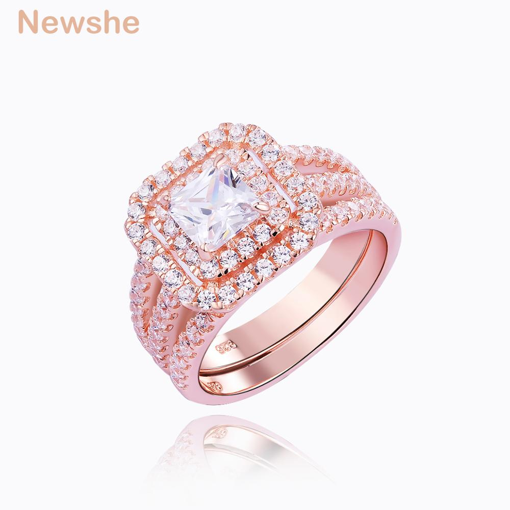 Newshe 2Pcs Rose Gold Color Wedding Ring Set For Women 925 Sterling ...