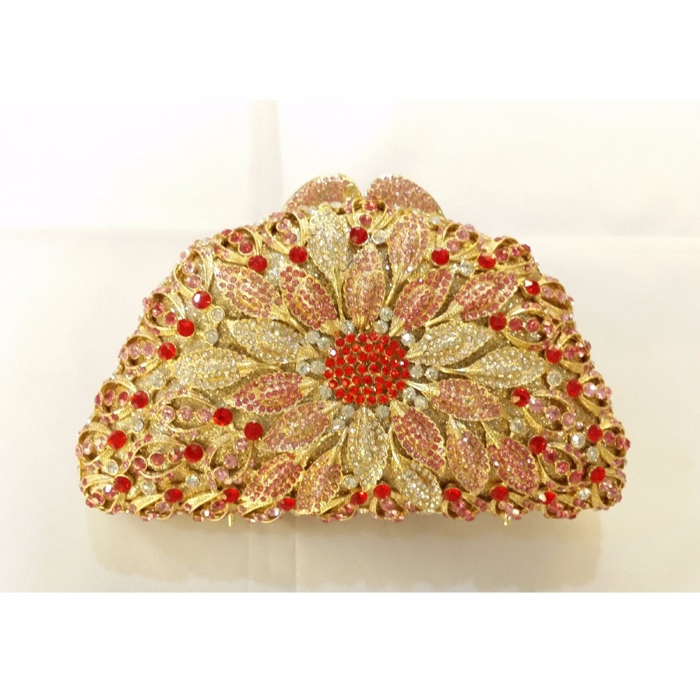 ФОТО 8351A Crystal Flower Floral Bridal Party hollow Metal Evening purse clutch bag handbag case box