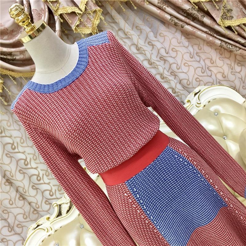 Casual Femmes Pull Costume Chandails Hiver Piste Tricoté Jupe Nouveau Longue 2017 Ensemble Chandail Automne Maxi Couleur Bloc De Om0wNnv8