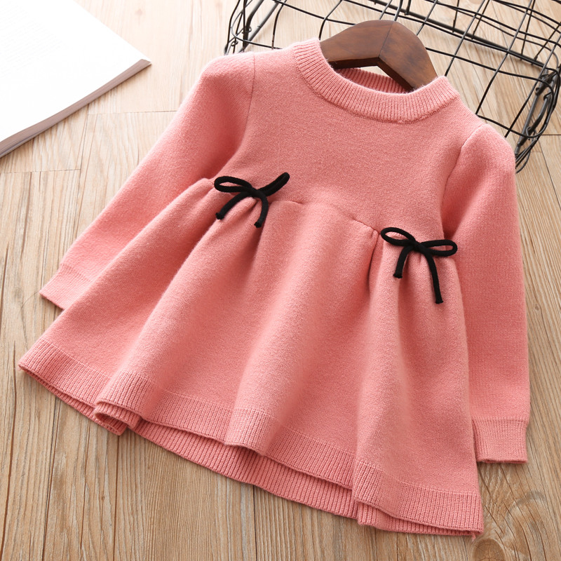 4e5dba939 Baby Fall Dress for Girls Toddler Sweater Tops kids autumn knitted Clothes  thick Dresses Teens Cute Christmas Shirt 1 2 3 years-in Dresses from Mother  ...