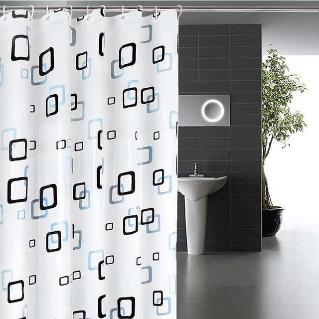 Classic Modern Plaid Pattern 1.8*2m Thick Waterproof PEVA Shower Curtain Bathroom Curtain With Hooks Free Shipping