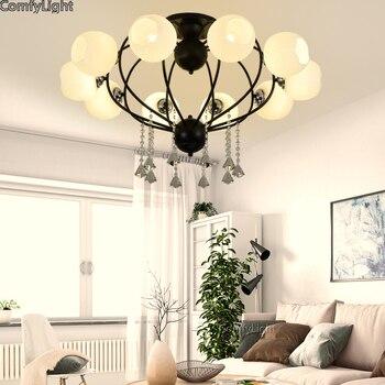 Glass Crystal Ceiling Lights Lighting Modern Lamps Living Room Bedroom Kitchen/Cafe Surface Mount home Decor LED hanglamp E27