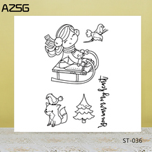 AZSG Cute Fox Bird Cheerful Girl Clear Stamps/Seals For DIY Scrapbooking/Card Making/Album Decorative Silicone Stamp Crafts