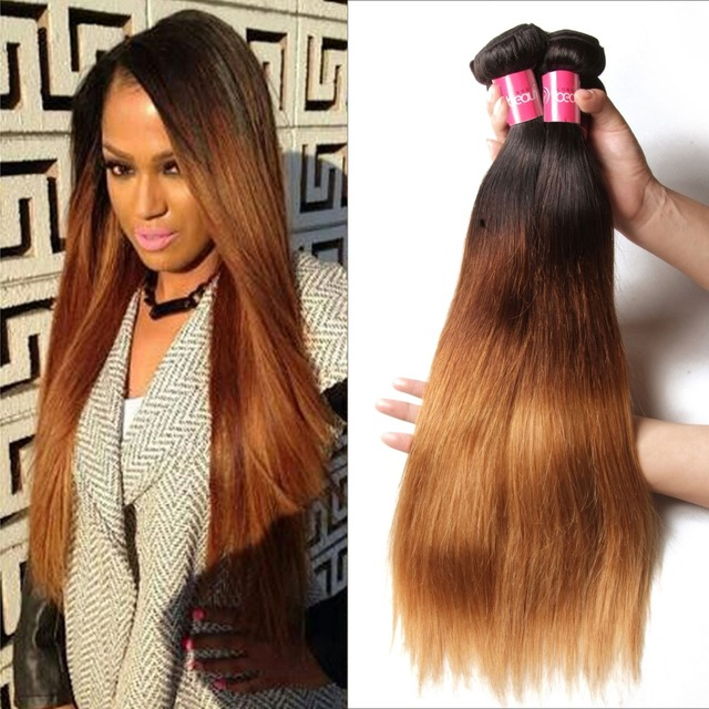 1b427 Ombre Brazilian Straight Hair 3 Tone Ombre Hair Extensions