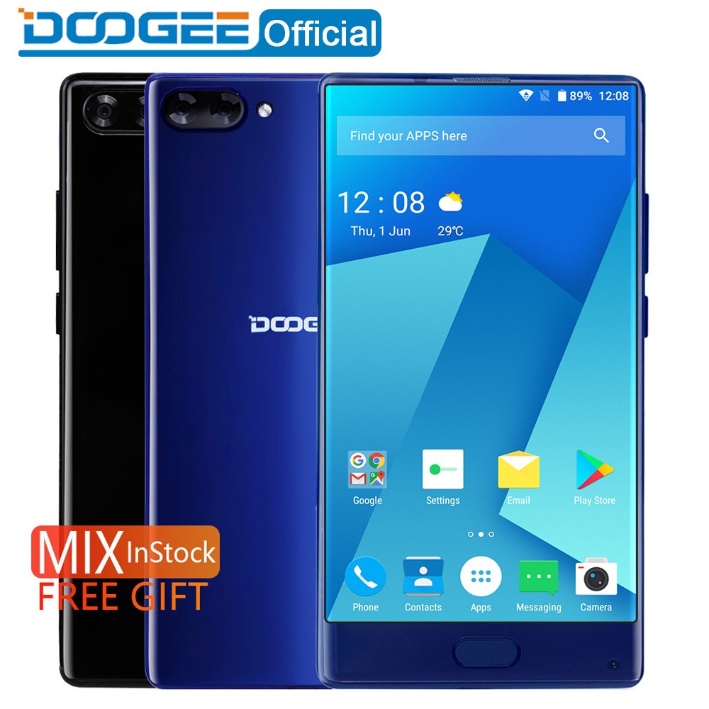 In Stock DOOGEE MIX bezel-less Smartphone Dual Camera 5.5'' AMOLED MTK Helio P25 Octa Core 4GB/6GB+64GB mobile phones Android 7