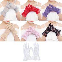 Женское платье перчатки свадебные полный палец кружевные перчатки девушки мода варежки аксессуары Розовый Белый полые gai