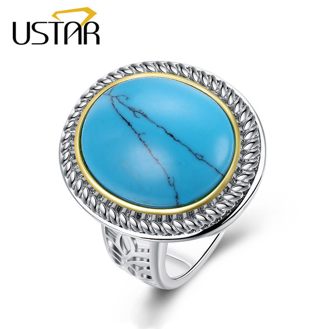 USTAR Big Blue Stone Wedding Rings for women White Gold color Simple