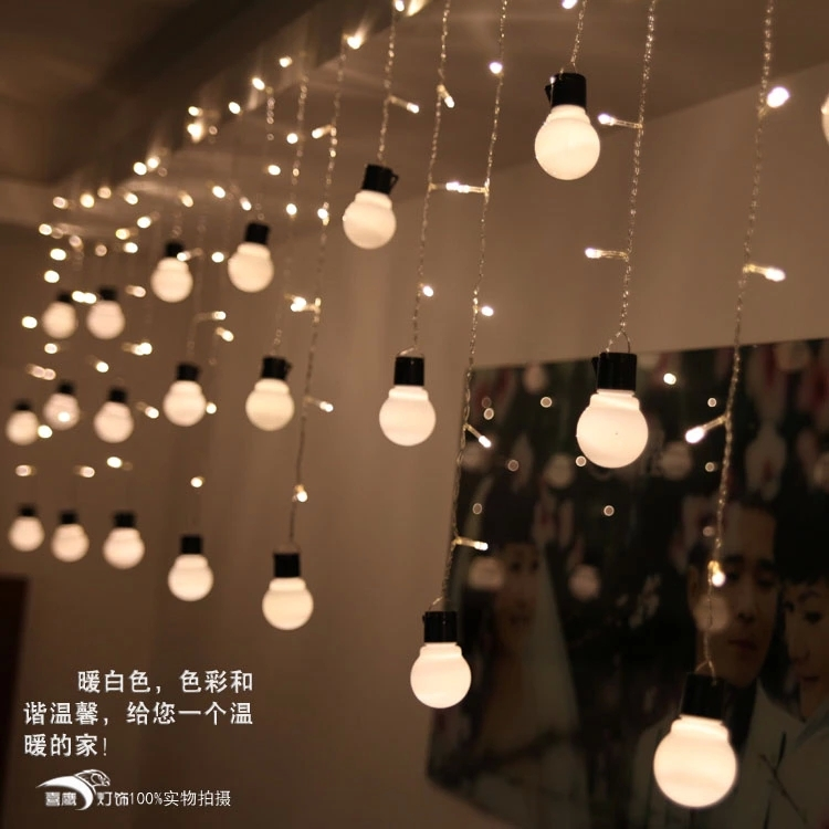 5cm big size 10 ball 1505m led curtain string black wire led starry - Outdoor Decorative Lights