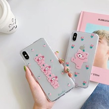 INS Super Fire Korea cute pink bear phone case For iphone Xs MAX XR X 6 6s 7 8 plus peach flower Funny clear soft TPU back Cover aertemisi ins korea super fire candy color bear phone case for iphone xs max xr x 6 6s 7 8 plus cute wave point clear soft tpu