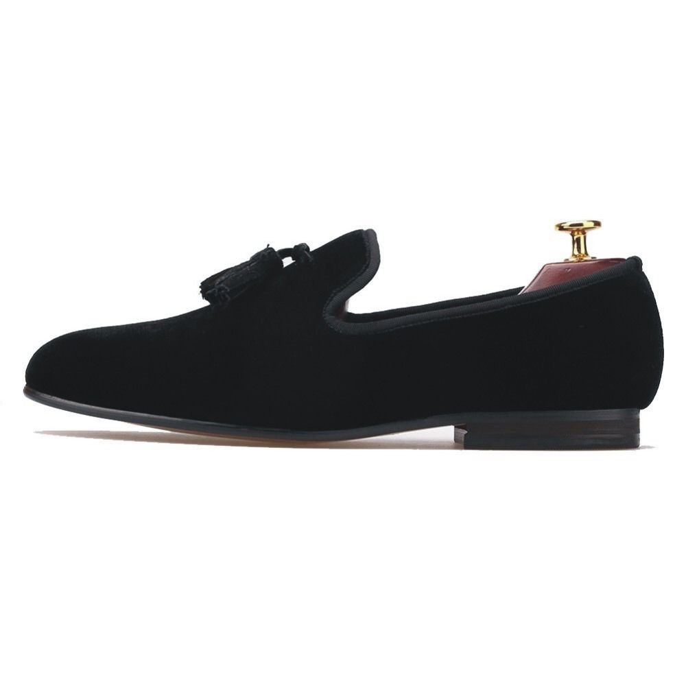 New Handmade Mens Shoes Casual Black Velvet Loafers with Tassel Flats Smoking Slippers Party Dress Prom Shoes Plus Size US 7-13 new black embroidery loafers men luxury velvet smoking slippers british mens casual boat shoes slip on flat shoes espadrilles