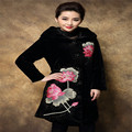 Embroidery Velvet Coat Women Winter 2016 Black Long Down Coats Plus Size 4XL Loutus Flower Embroidery Coat Women's Winter Jacket