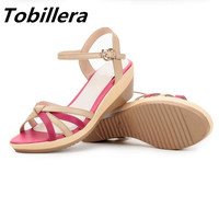 Tobillera 2017 Summer Plus Size Women Wedge Sandals Mix Colors Open Toe Casual Shoes High Quality