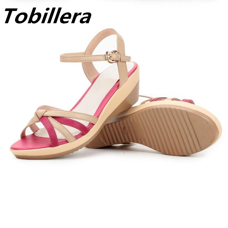 Tobillera 2017 Summer Plus Size Women Wedge Sandals Mix Colors Open Toe Casual Shoes High Quality Ladies Beach Footwear new 2017 spring summer women shoes pointed toe high quality brand fashion womens flats ladies plus size 41 sweet flock t179