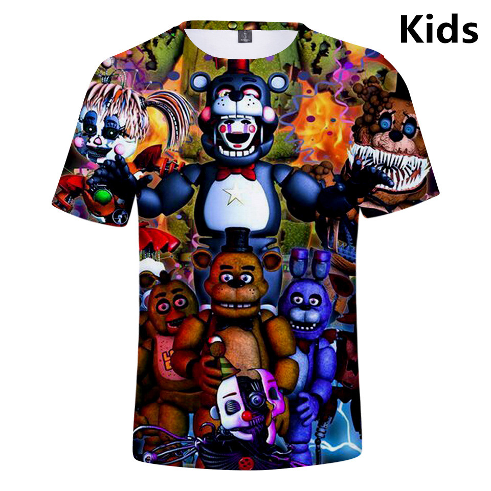3 To 14 Years Kids T Shirt Five Nights At Freddy 3d Printed T-shirts Boys Girls Fashion Short Sleeve Tshirts FNAF Child T-shirt
