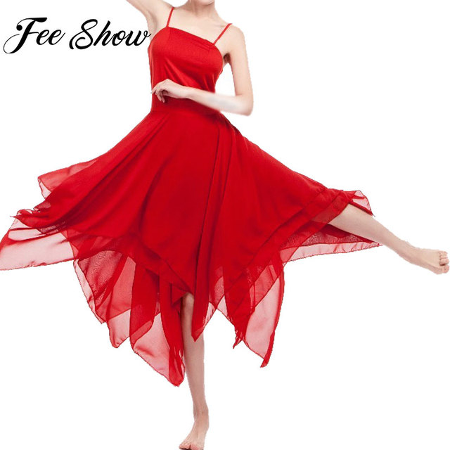 FEESHOW Women Adult Leotard Ballet Dress Asymmetric Chiffon Solid Color  Contemporary Lyrical Dancing Dress Ballet Dance Clothes 7537494c95f7