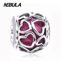 Authentic 925 Sterling Silver Cerise Encased in Love, Cerise Pink Crystal Charm Bead Fit Pandora Bracelet Jewelry