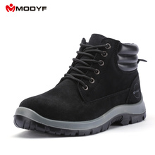Modyf Mens fall winter Steel Toe Cap work Safety shoes outdoor welding protect boots fashion puncture proof footwear ankle boots