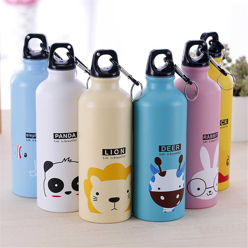 500ML Kids Cute Water Bottle Portable Sport Drink Bottle Leakproof Steel Botella With Hook Lid for Outdoor Travel Man Women Gift