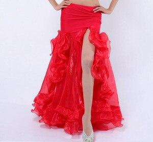 Image 3 - Sexy feminino dança do ventre fishtail saia lateral fenda roxo vermelho branco azul rosa cor sólida frete grátis