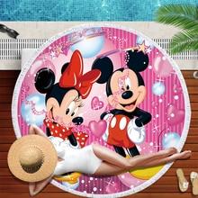 Disney Cartoon Pink Minnie Mickey Mouse Microfiber Soft Round Summer Thin Blanket Bath Beach Towels with Tassel for Women Girls